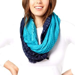INC Ombre Waffle Infinity Loop Scarf Navy/Teal NEW